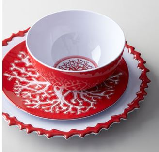 coral dishes