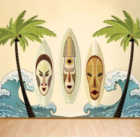 tiki wall mural