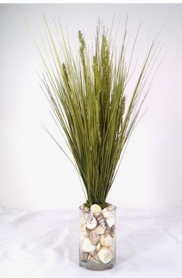grass and shells vase