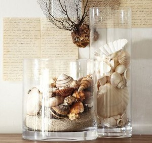 beach shell vases