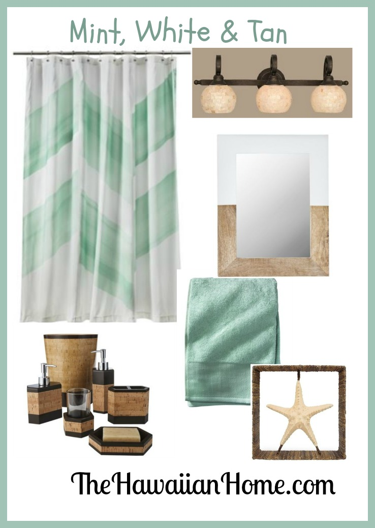 Beachy mint bathroom archives the hawaiian home for Bathroom decor light green