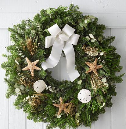 coastal beach christmas wreath
