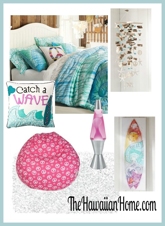 girls hippie surf theme bedroom