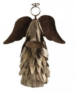 driftwood angel candle holder