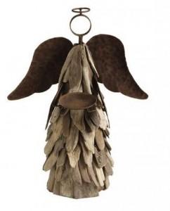driftwood angel candle holder