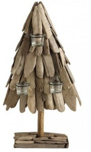 driftwood christmas tree candle holder