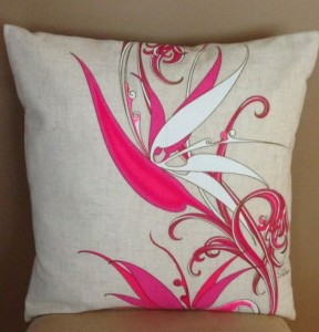 hand painted bird of paradise throw pillow