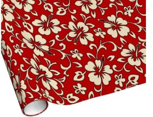 red hibiscus wrapping paper