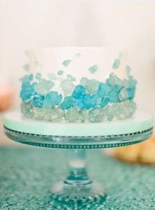 beach glass wedding cake