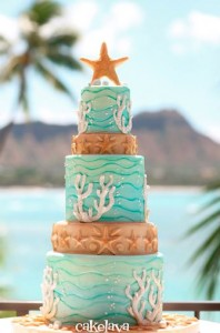 coral reef wedding cake