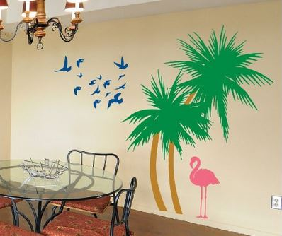 colorful palm tree wall stickers