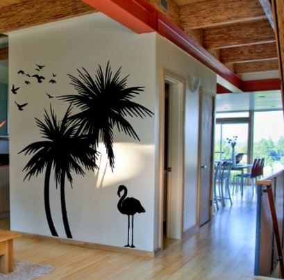 palm tree decal with flamingo and birds