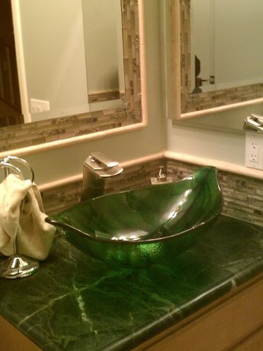 green leaf sink