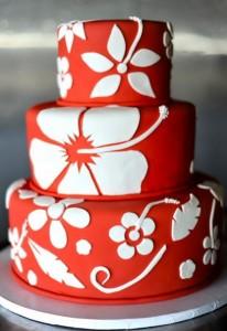 red hawaiian wedding cakes