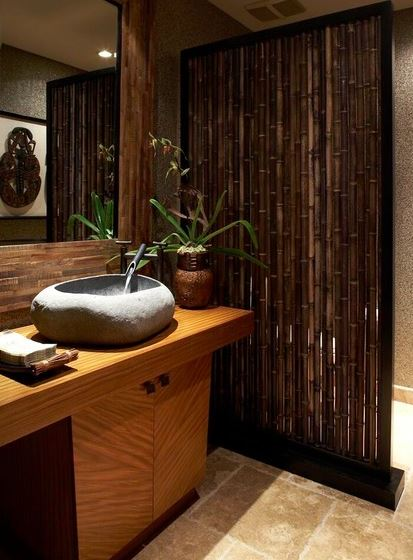 carved stone sink tropical