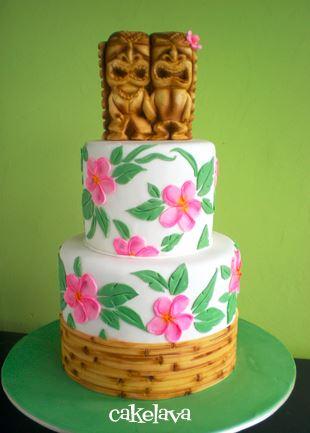 tiki hawaiian style wedding cake