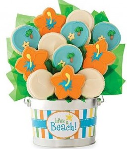 beach flower cookies