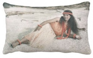 vintage hula girl pillow