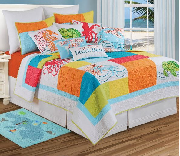 hawaiian girls bed comforters and quilts set natural tropical shells bedding f c