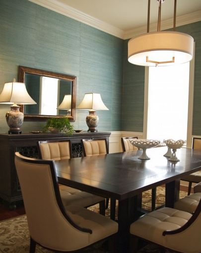colored grasscloth wallpaper dining room