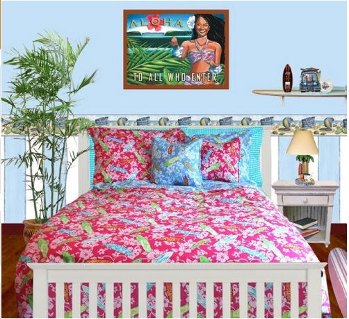 girls twin size surf bedding