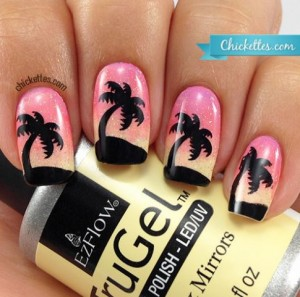 stamped palm tree nails