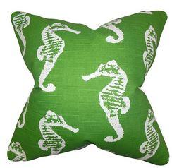 green seahorse pillow
