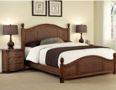 rattan bed with pineapple finials