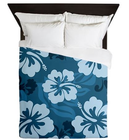 blue hibiscus bedding set