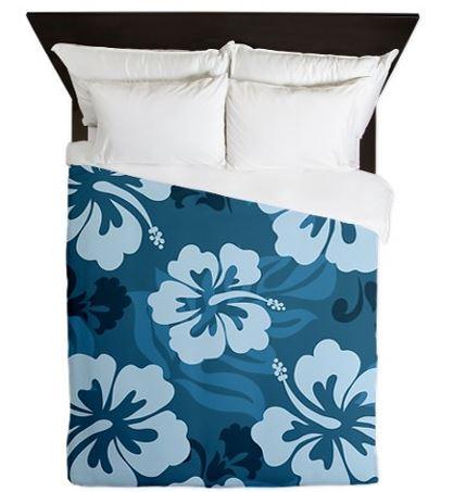 blue hibiscus bedding set