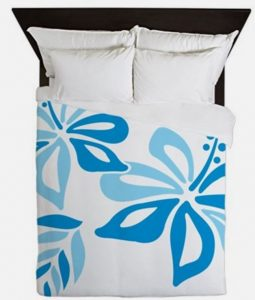 graphic print hibiscus bedding