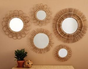 rattan mirrors set