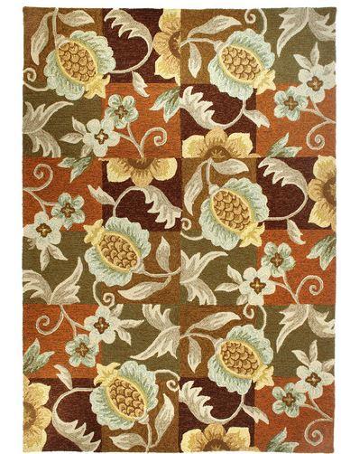 indoor outdoor floral pineapple rug