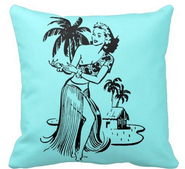 retro hula dancer pillow