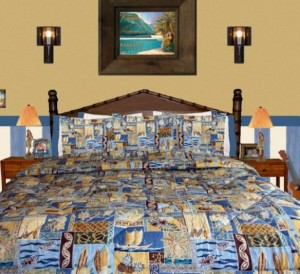 blue and yellow surfer bedding
