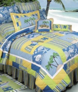 surfer bedding with yellow and blue