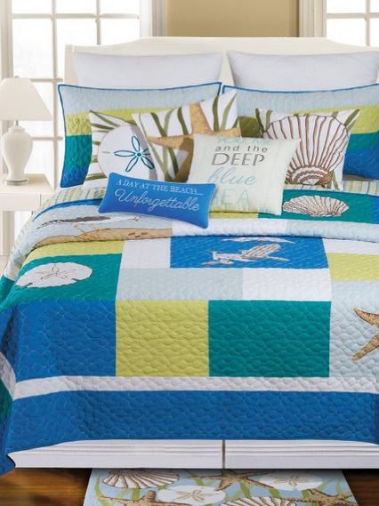 tropical blue and yellow patchwork quilt
