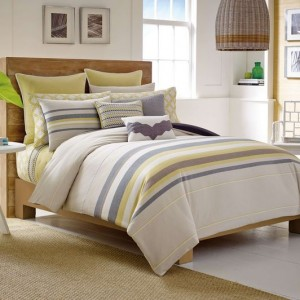 modern blue and yellow bedding