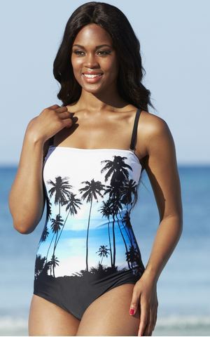 plus size palm print swimsuit