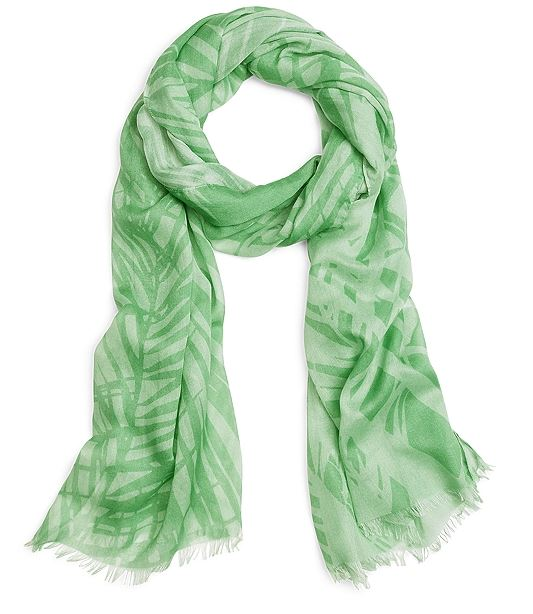 green palm print scarf