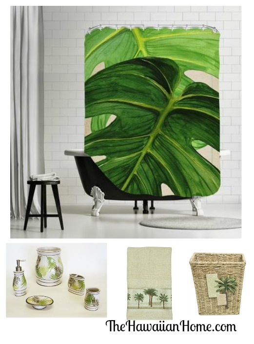 palm theme bathroom design