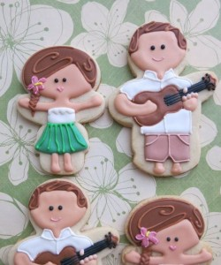 hawaiian bride and groom cookies