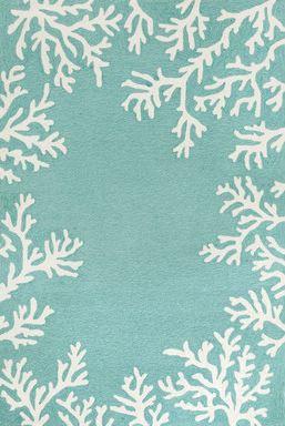aqua coral print rug