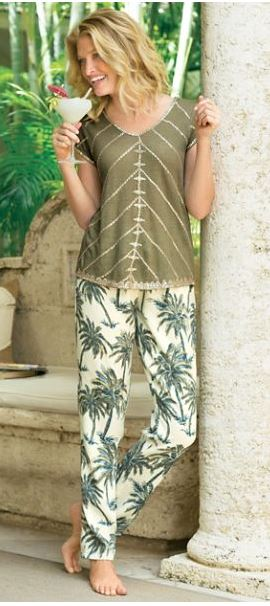tencel palm tree pants