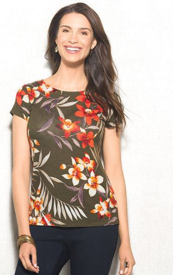 women's tropical print t-shirt