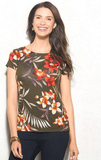 women's tropical print t-shirt