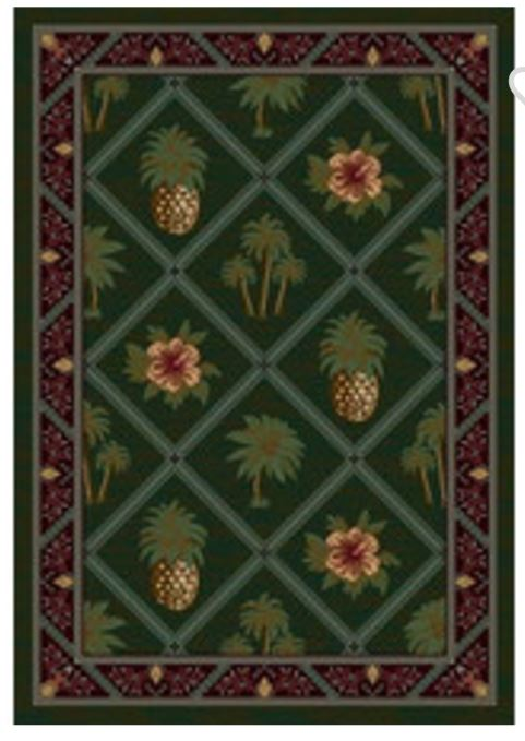 pineapple and palm rug