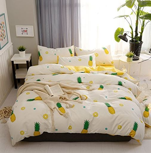 yellow pineapple bedding