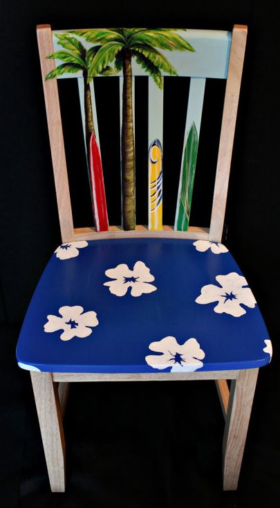 hand painted surfboard chair