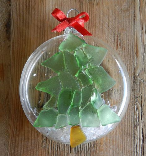 beach glass christmas tree ornament